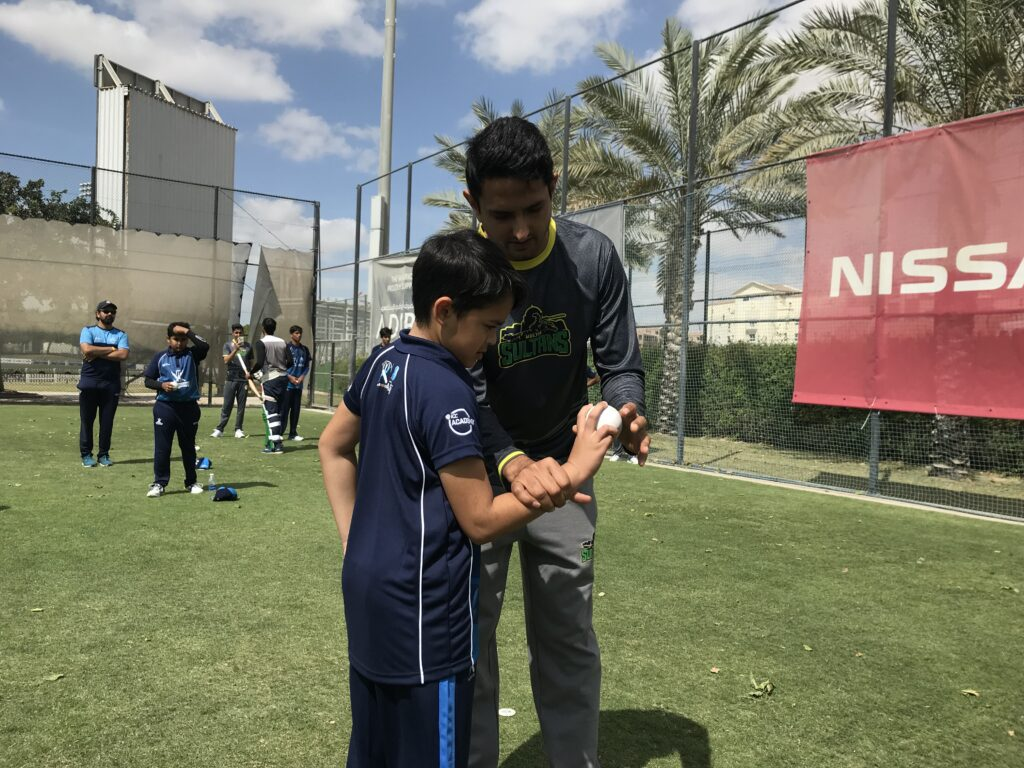 Mohammad Abbas giving bowling tips